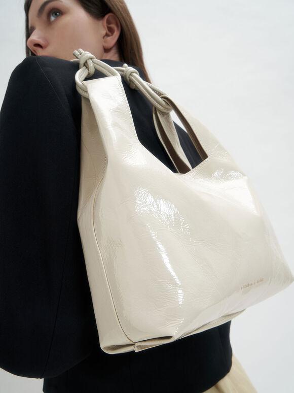 Patent Square Handle Tote Bag, Beige, hi-res