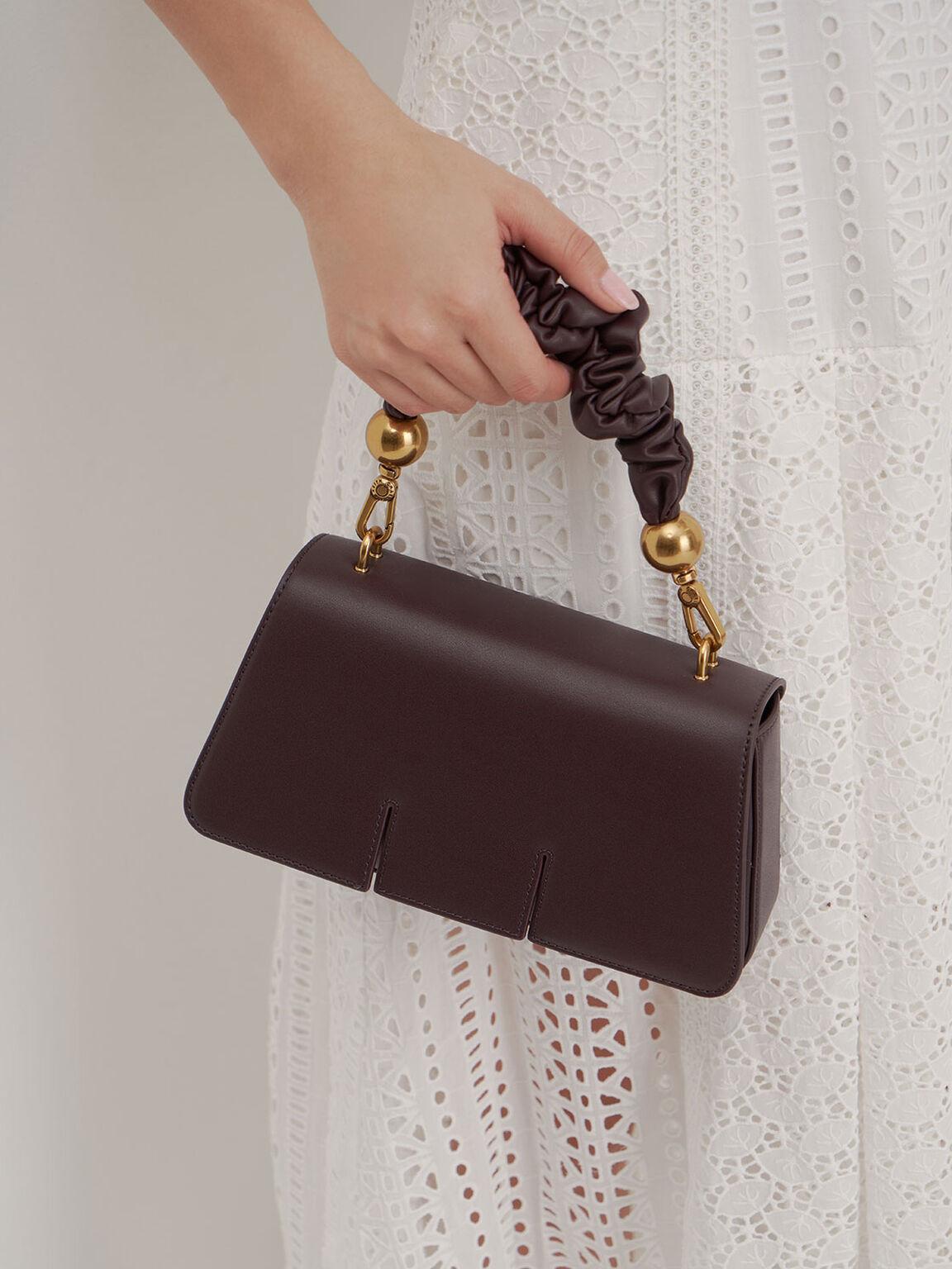 Ruched Handle Sculptural Bag, Dark Brown, hi-res