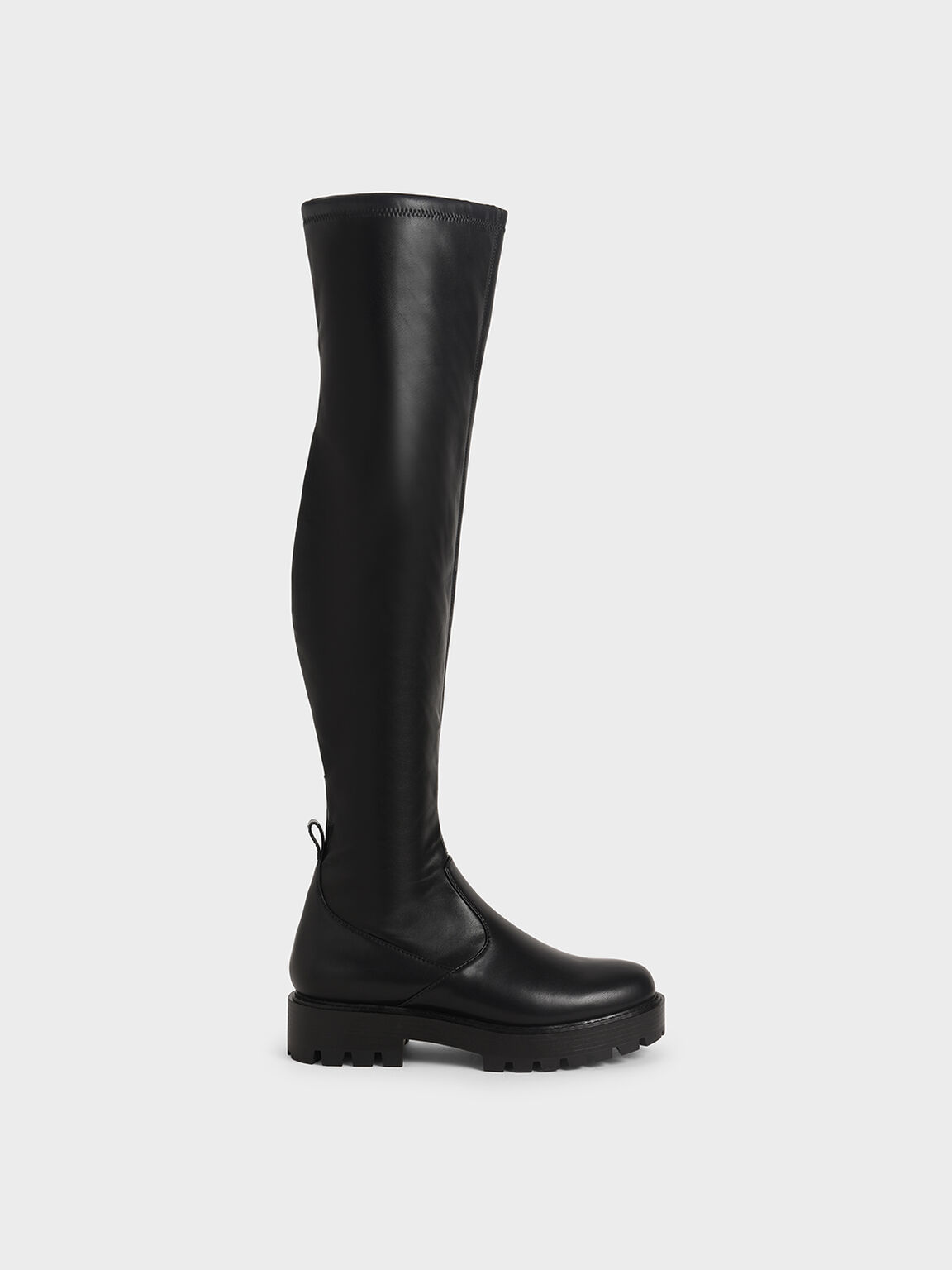 Thigh High Platform Boots, Black, hi-res