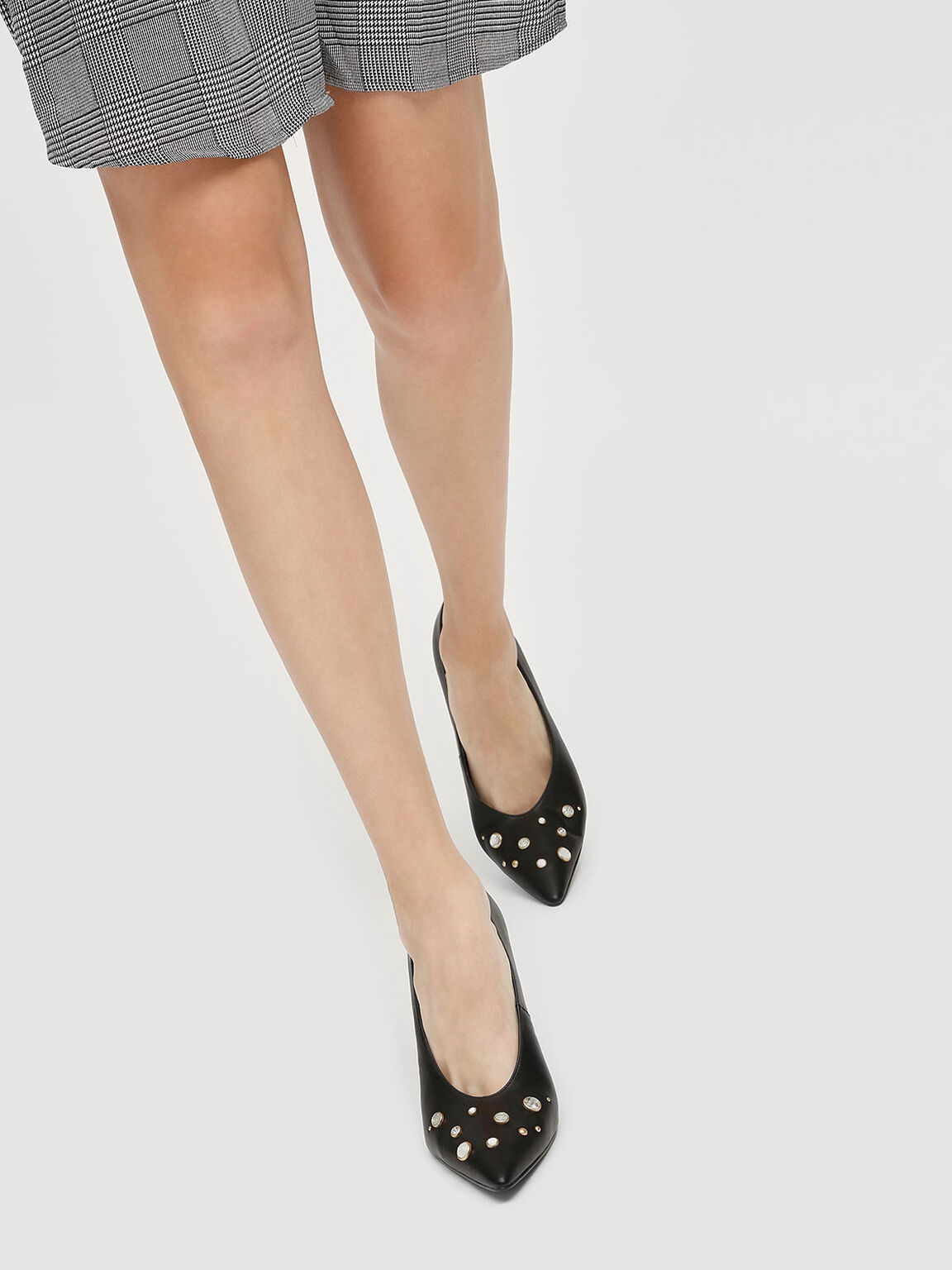 Embellished Pointed Toe Pumps, Black, hi-res