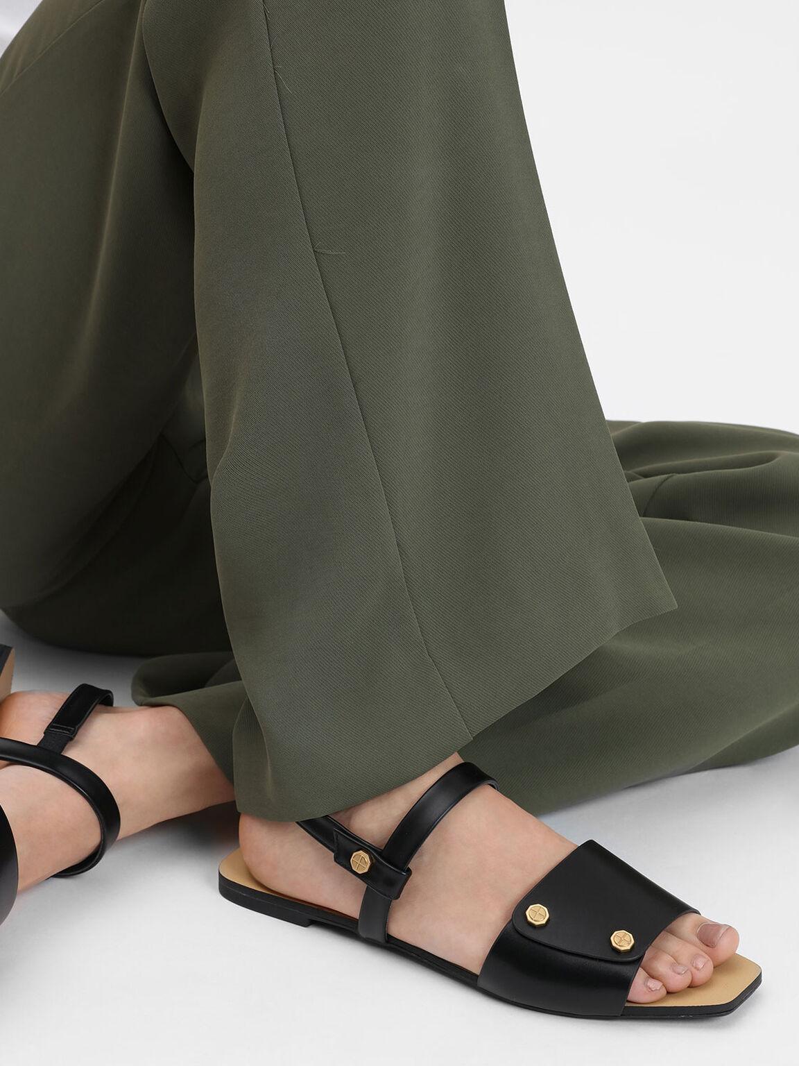 Screw Stud Detail Sandals, Black, hi-res