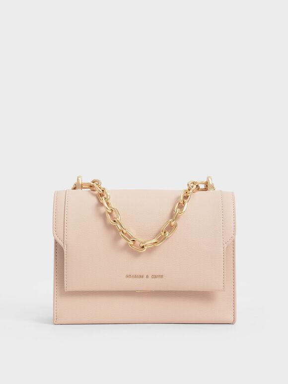 Front Flap Chain Handle Crossbody Bag, Light Pink, hi-res