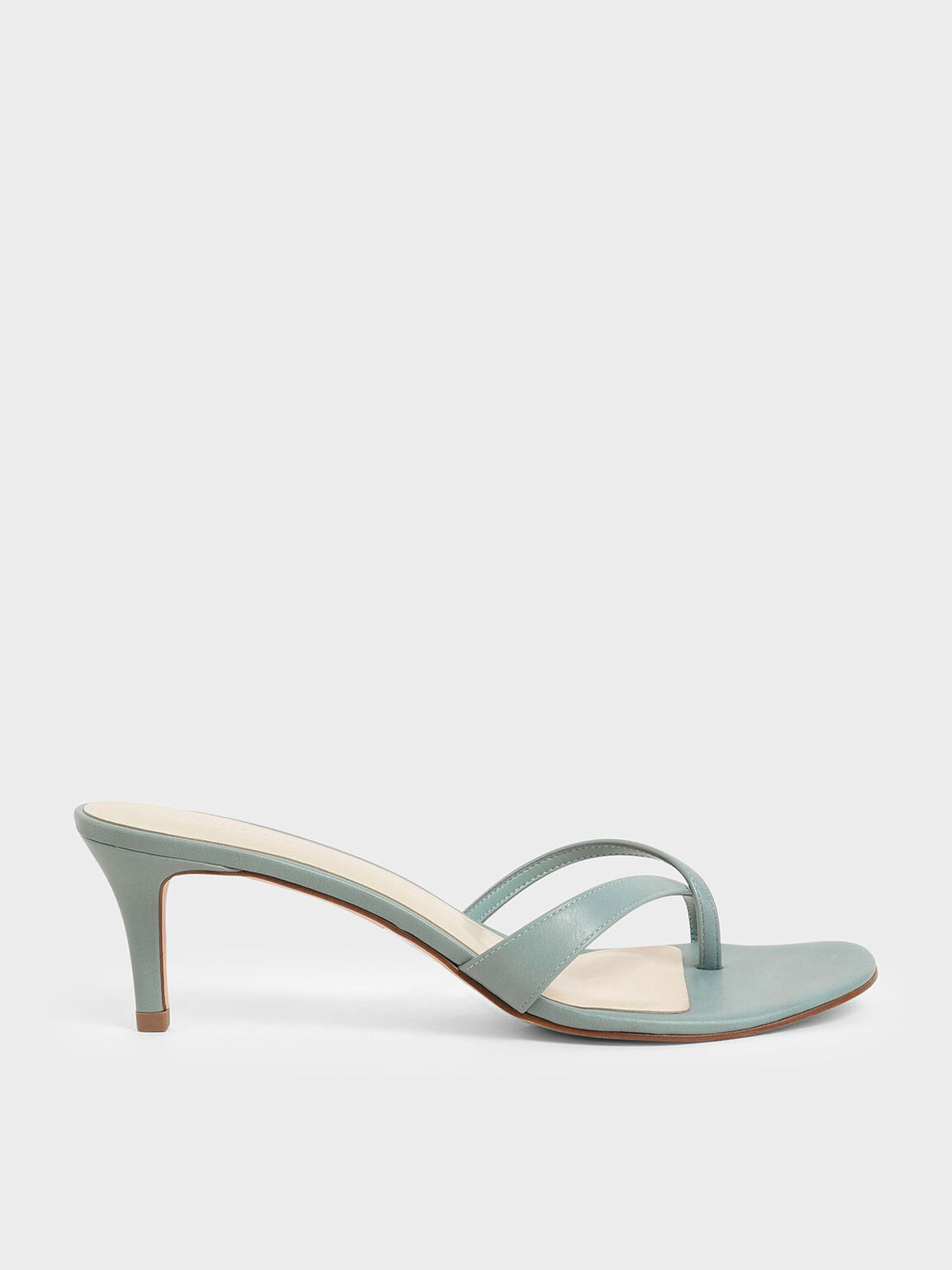 Toe Strap Heeled Sandals, Green, hi-res