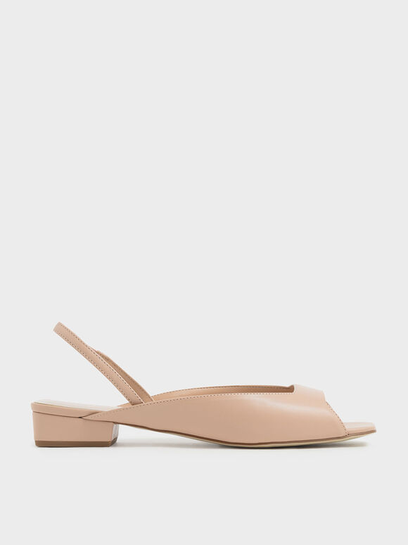 Square Toe Mini Block Heel Slingback Sandals, Nude, hi-res