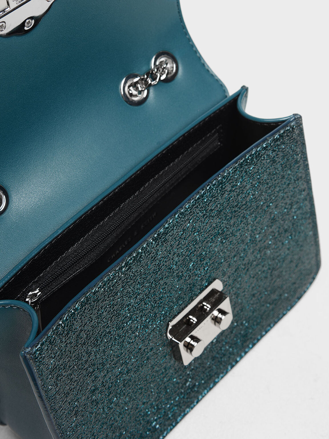 Embellished Push Lock Metallic Clutch, Green, hi-res