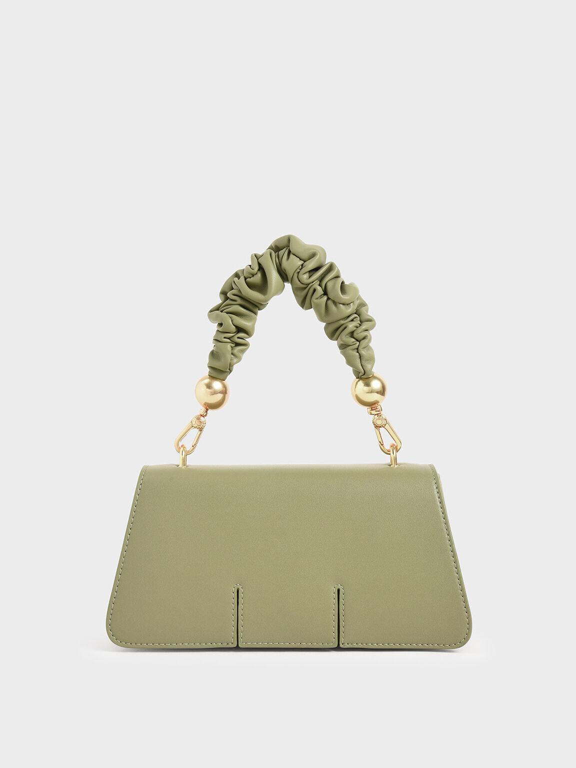 Large Textured Double Handle Bag, Sage Green, hi-res