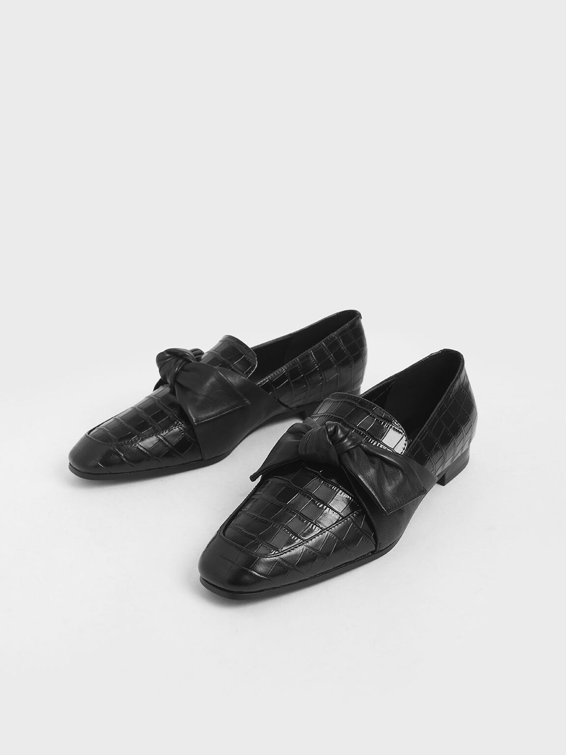 Croc-Effect Leather Bow-Tie Loafers, Black, hi-res