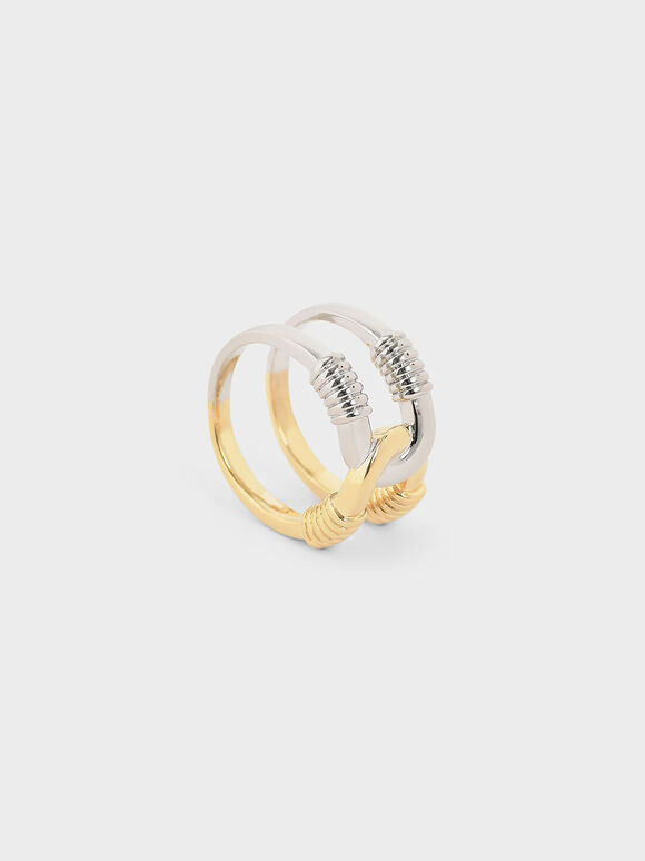 Ribbed Double Band Ring, Multi, hi-res