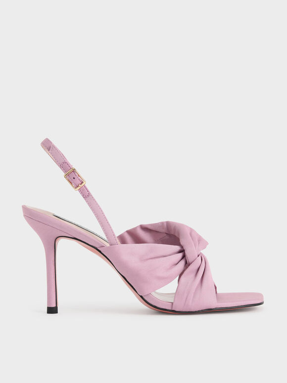 Cotton Knotted Slingback Sandals, Light Pink, hi-res