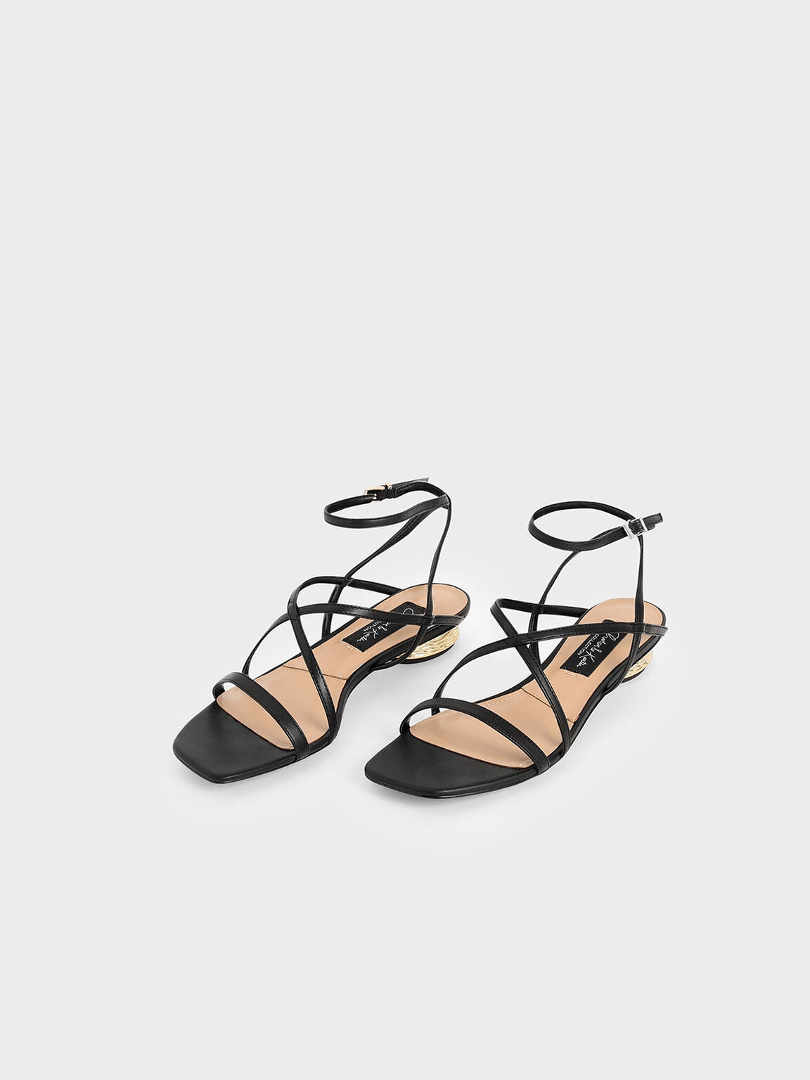 Leather Strappy Sandals, Black, hi-res