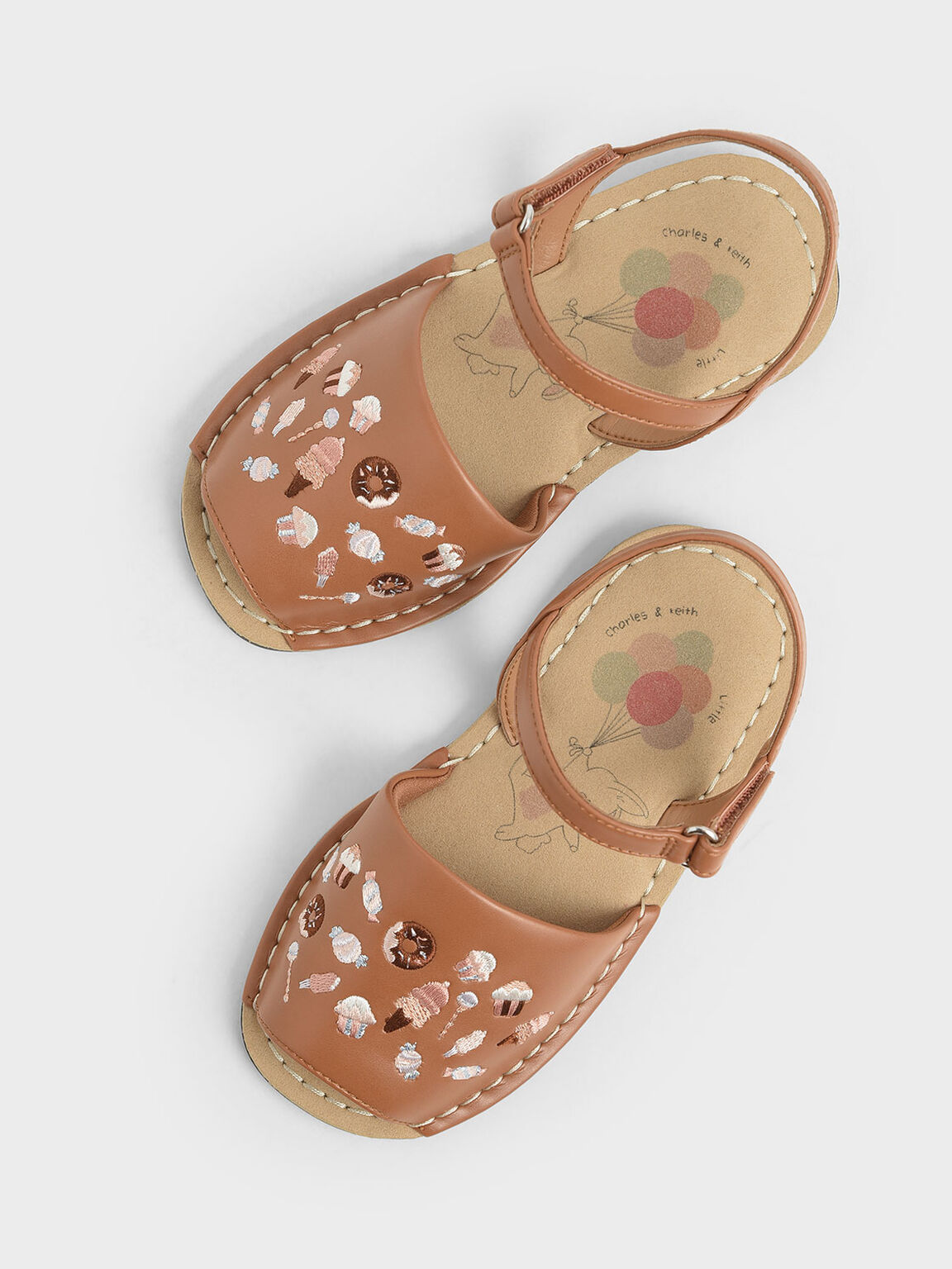 Girls' Embroidered Sandals, Nude, hi-res
