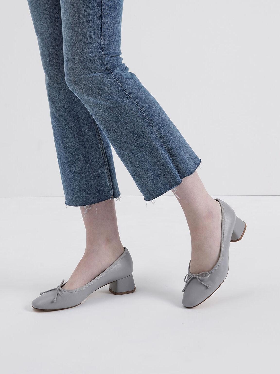 Bow Block Heel Pumps, Grey, hi-res