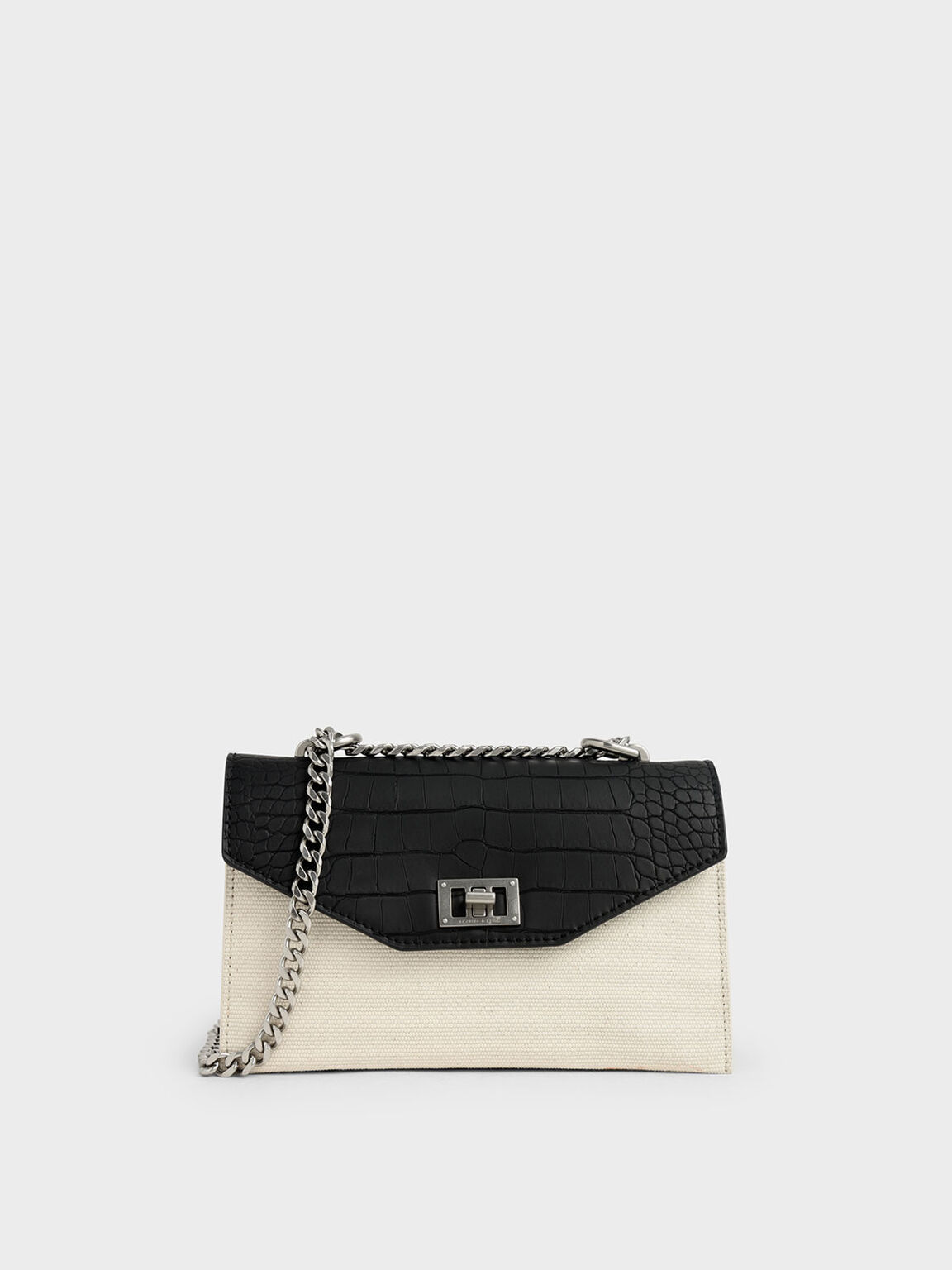 Croc-Effect Canvas Turn-Lock Crossbody Bag, Multi, hi-res
