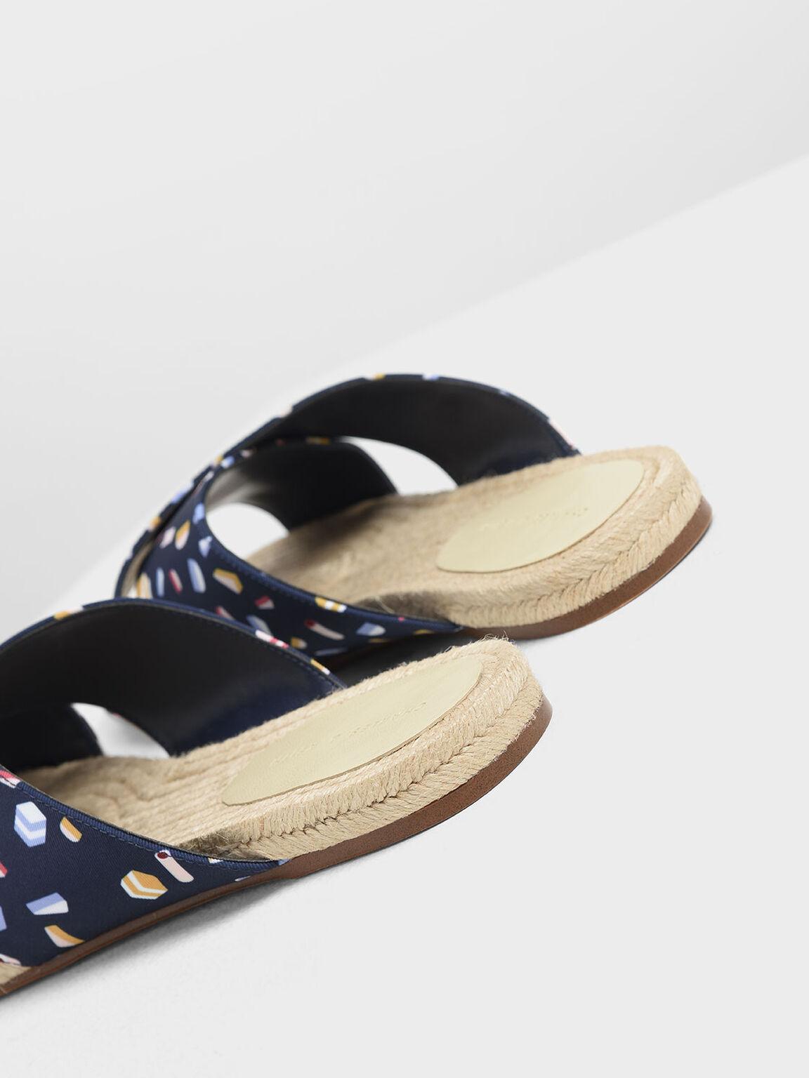 Criss Cross Printed Fabric Slide Sandals, Dark Blue, hi-res