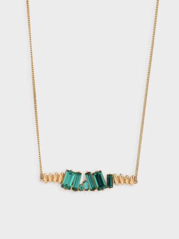 Swarovski® Crystal Embellished Matinee Necklace, Green, hi-res