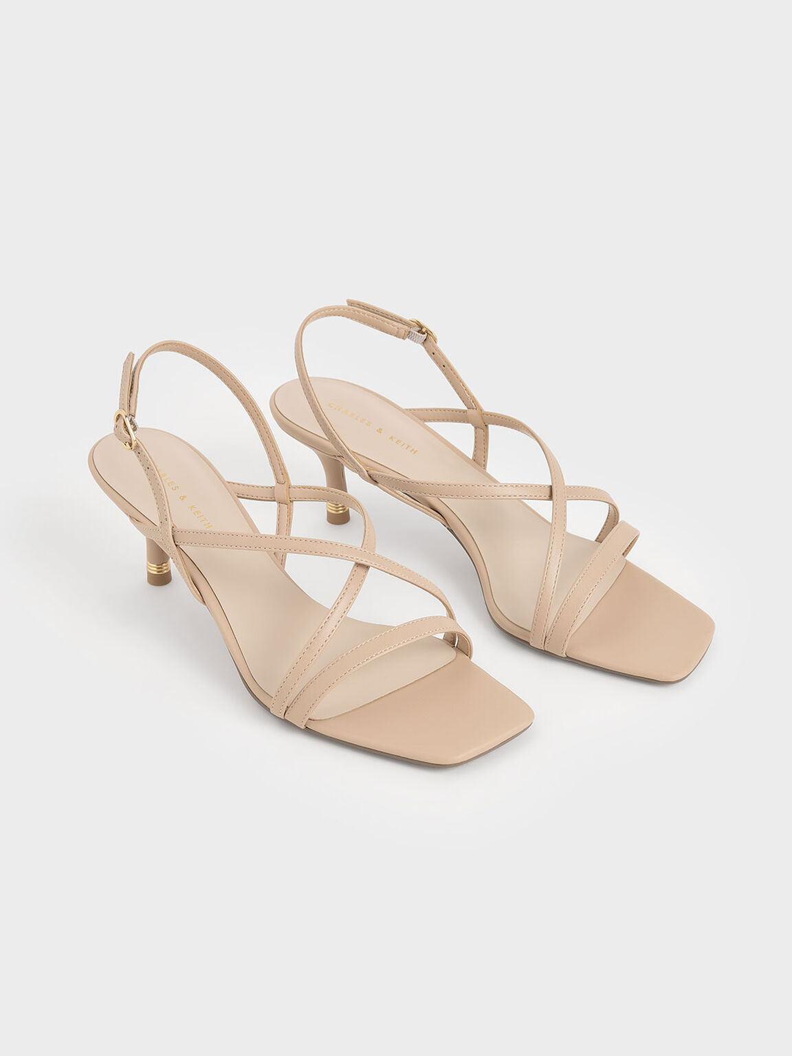 Strappy Slingback Sandals, Nude, hi-res