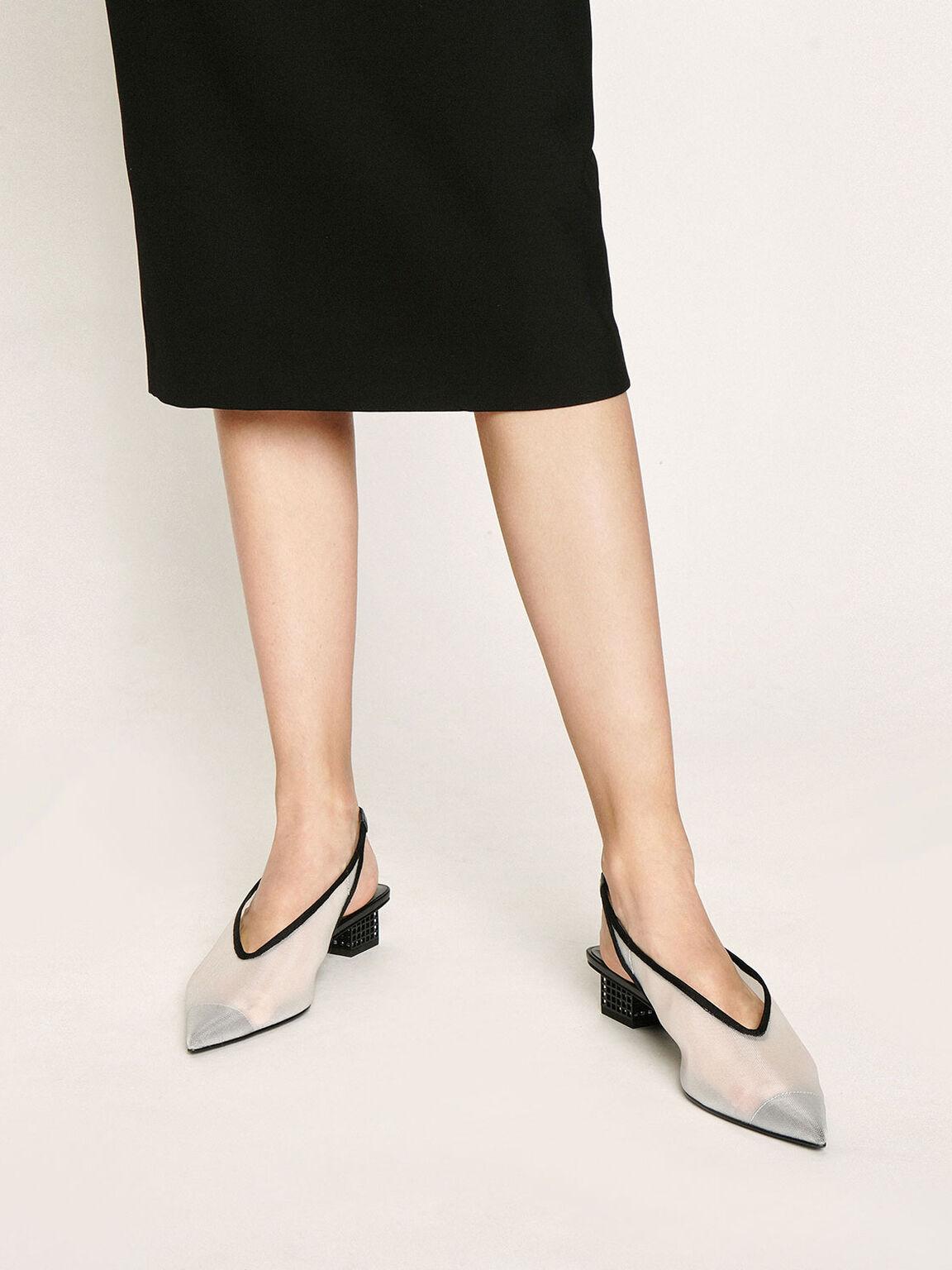 Mesh Slingback Heels, White, hi-res