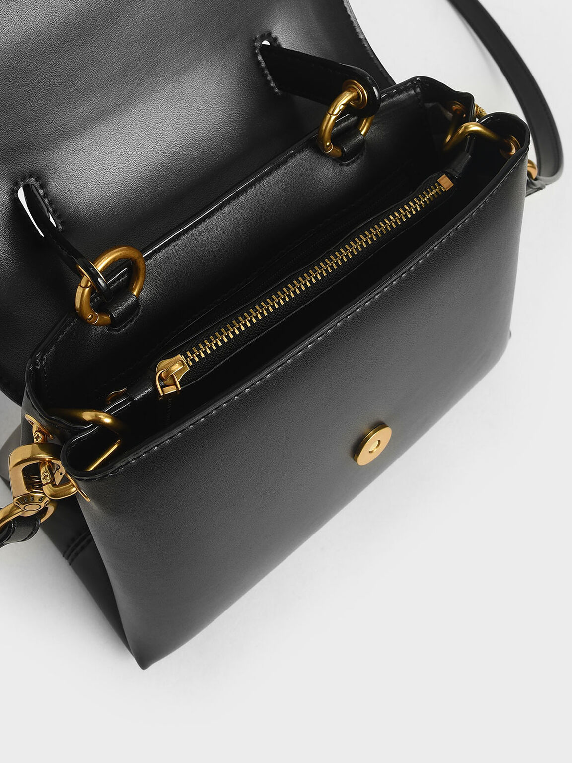 Stone-Embellished Handbag, Black, hi-res