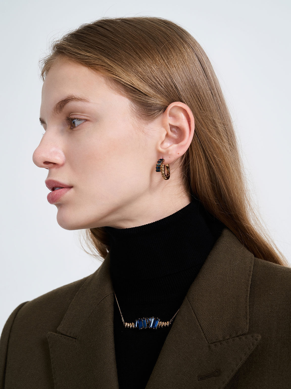 Swarovski® Crystal Embellished Matinee Necklace, Navy, hi-res