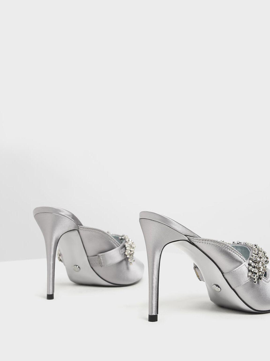 Embellished Satin Pointed Toe Heels, Pewter, hi-res