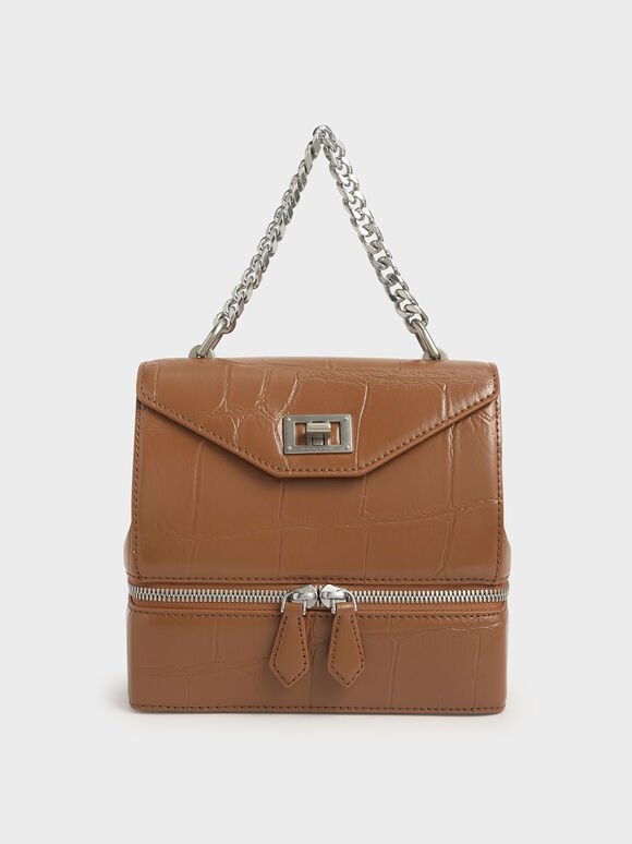 Croc-Effect Two-Way Zip Handbag, Cognac, hi-res