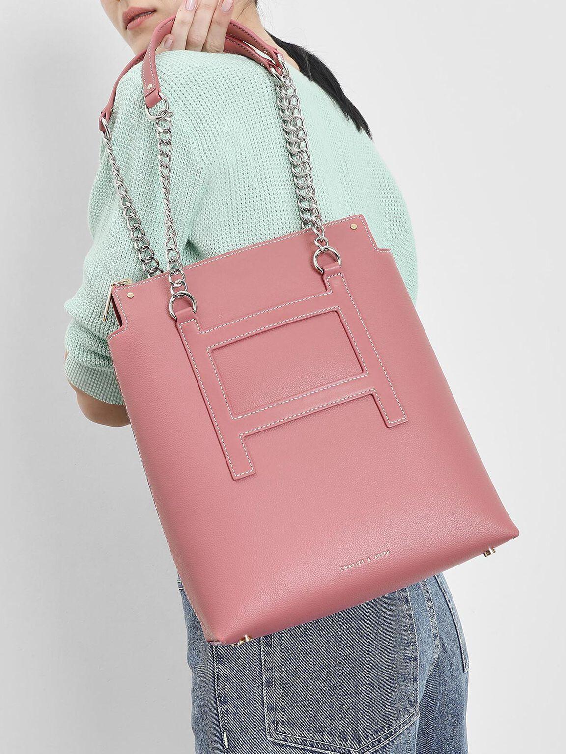 Long Chain Tote Bag, Pink, hi-res