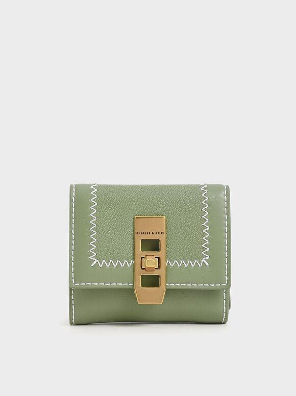Stitch Trim Turn Lock Wallet, Sage Green, hi-res