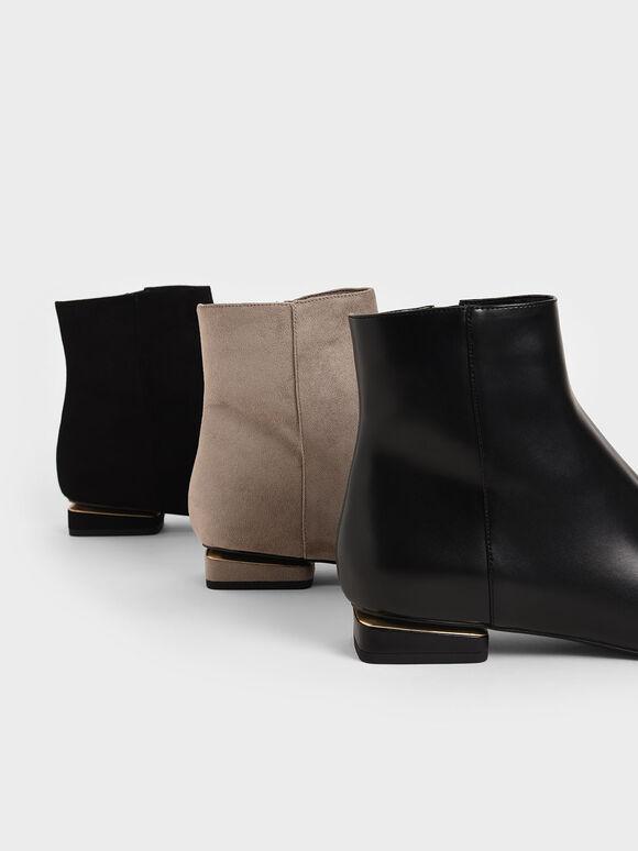 Metallic Accent Ankle Boots, Black, hi-res