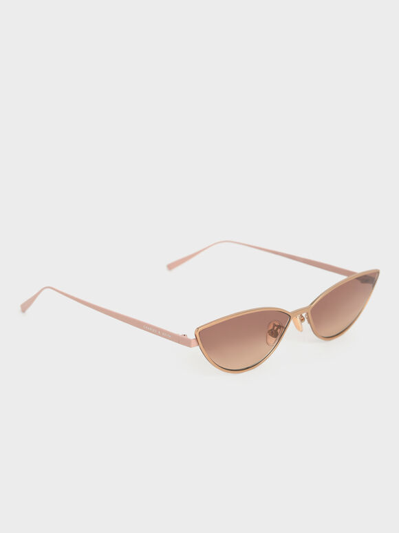 Tinted Cat-Eye Sunglasses, Rose Gold, hi-res