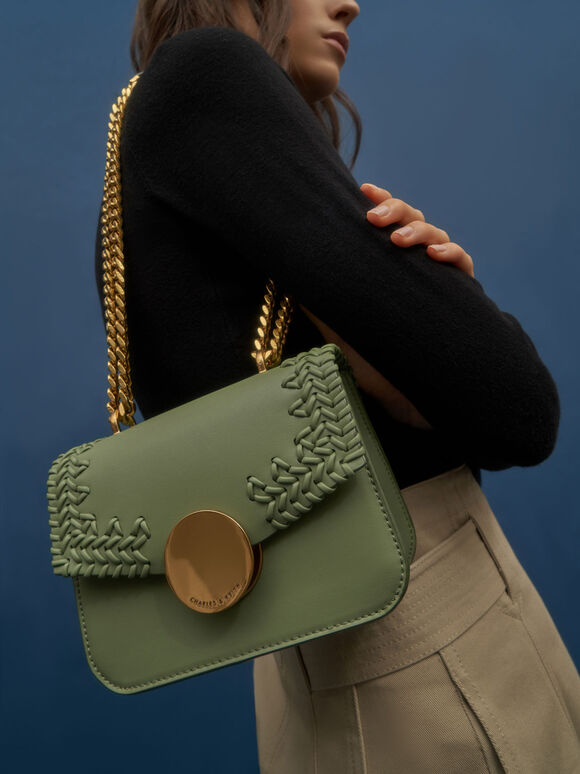 Woven Double Chain Handle Bag, Sage Green, hi-res