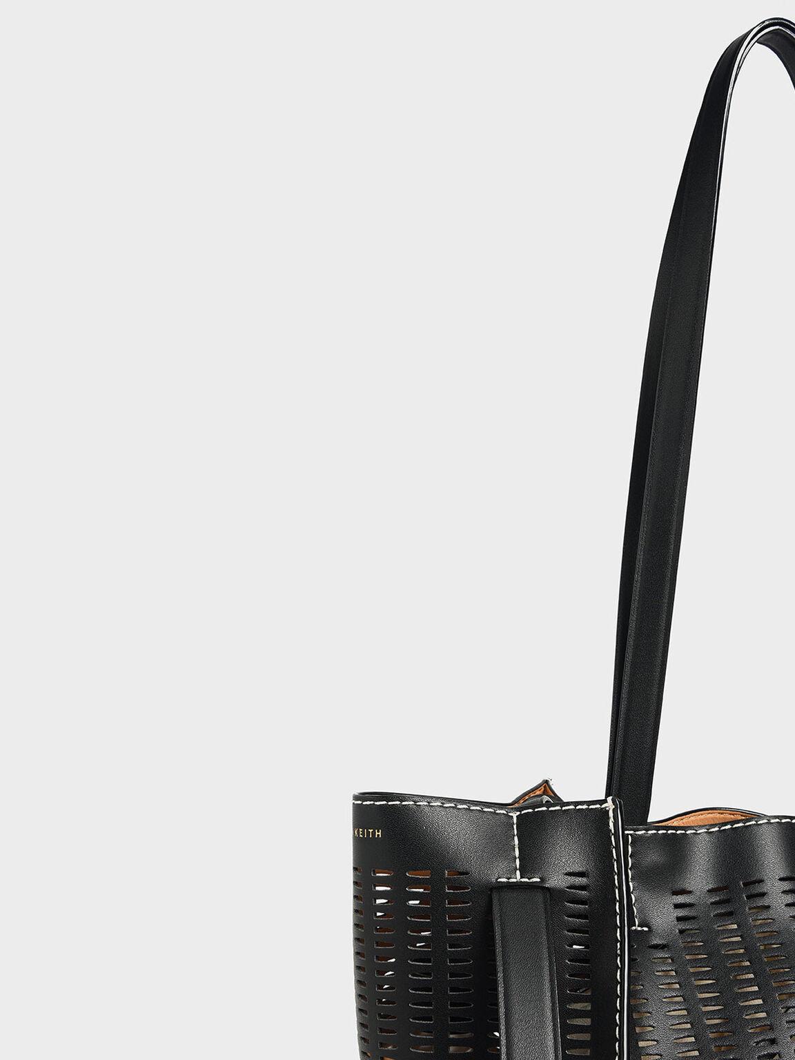Large Laser-Cut Tote Bag, Black, hi-res