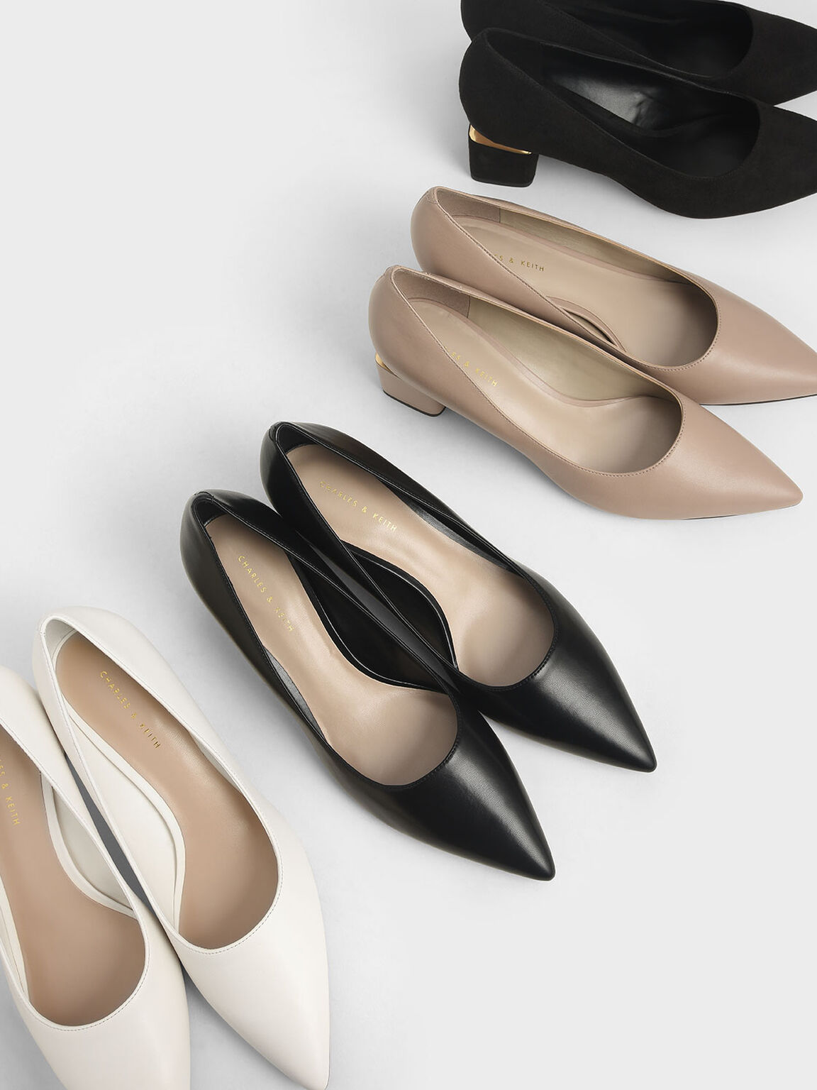 Metal Accented Pointed Toe Pumps, Black, hi-res