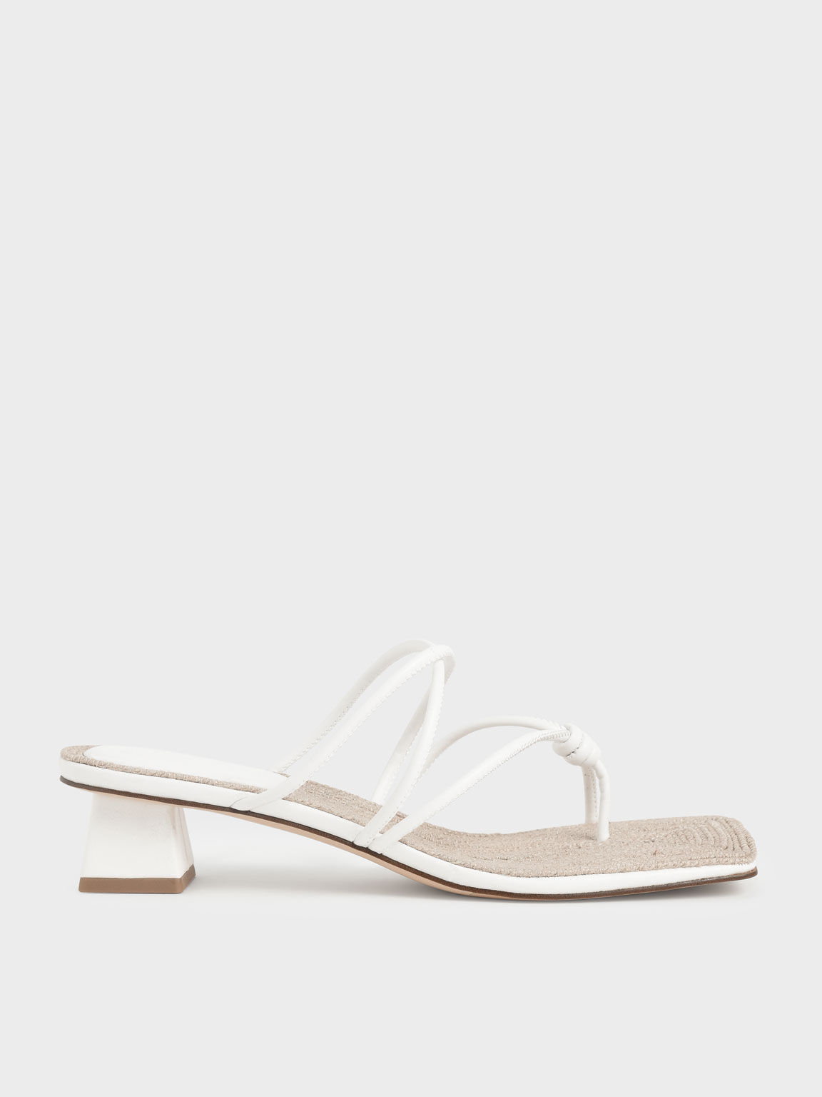 Toe Loop Strappy Heeled Sandals, White, hi-res