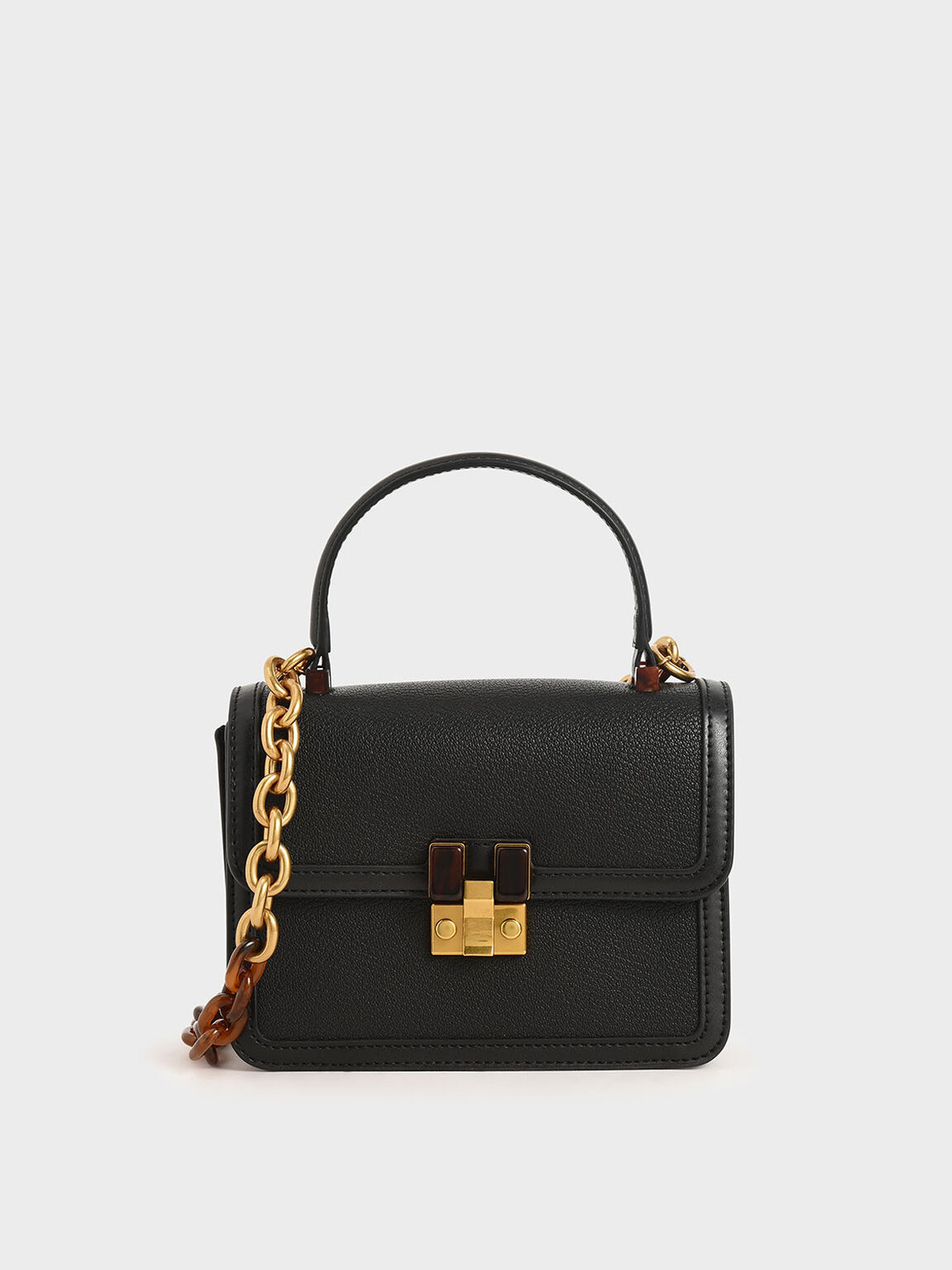 Small Chunky Chain Strap Bag, Black, hi-res
