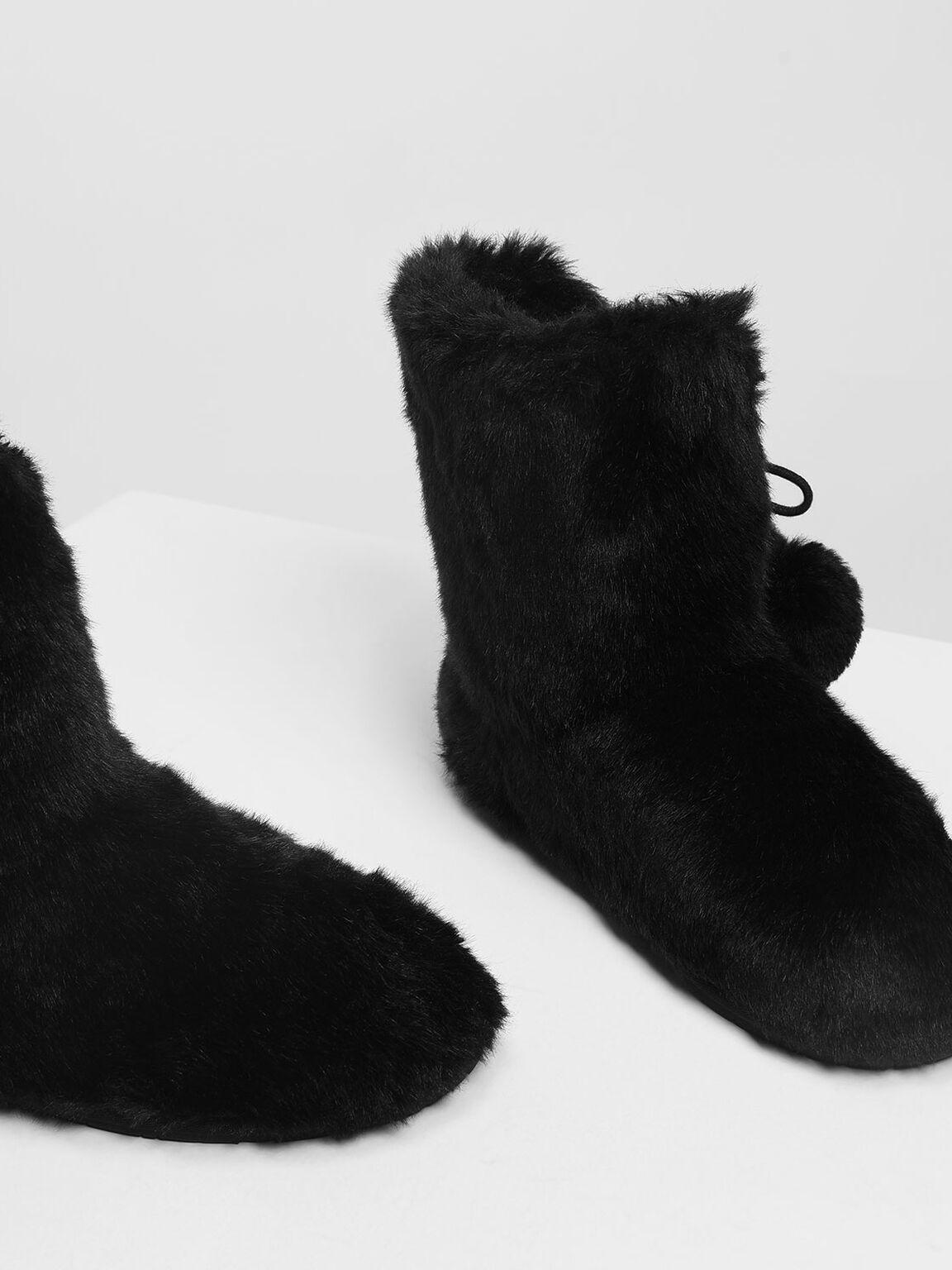 Furry Pom Pom Boots, Black, hi-res