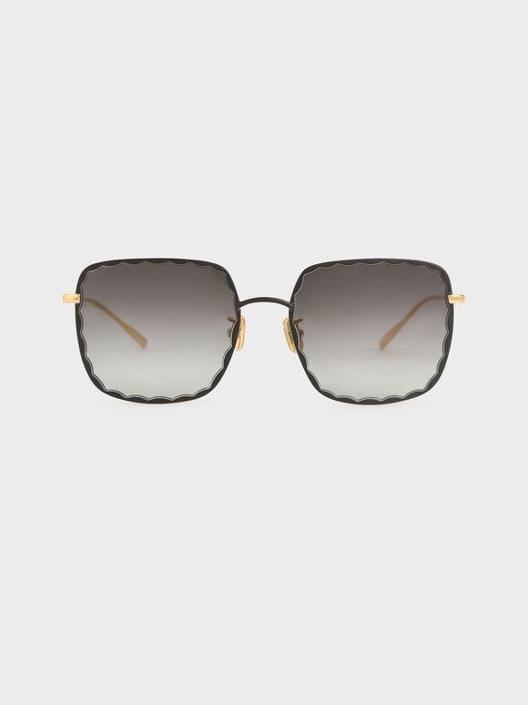 Scallop Trim Butterfly Sunglasses, Black, hi-res