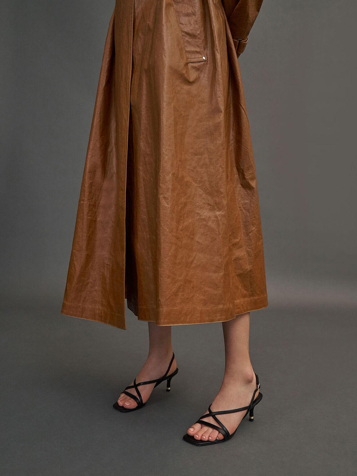 Strappy Slingback Sandals, Black, hi-res