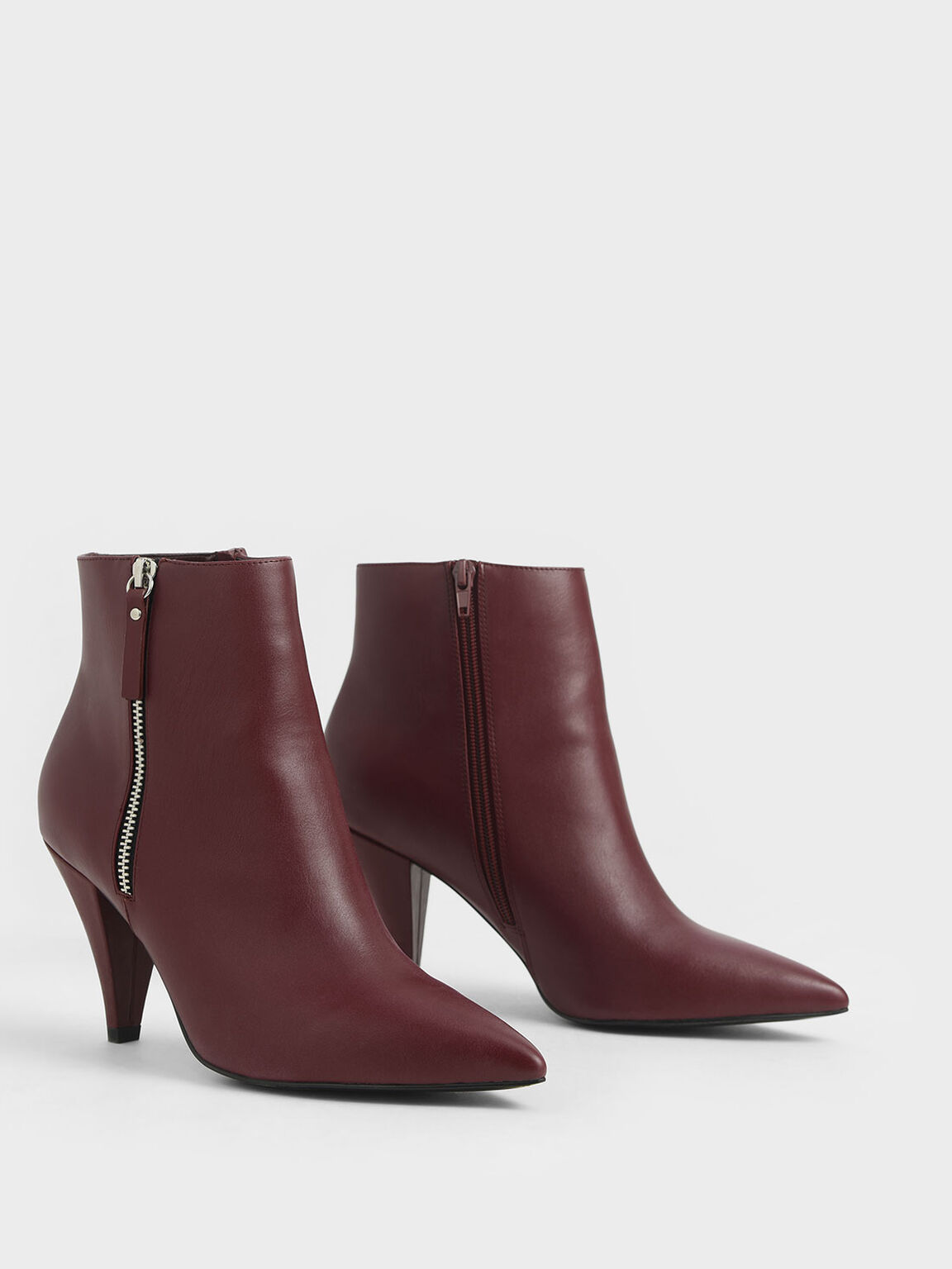 Double Zip Pointed Toe Ankle Boots, Burgundy, hi-res
