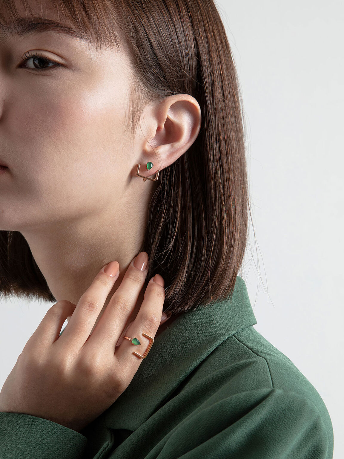 Green Agate Stone Ear Climber Earrings, Rose Gold, hi-res