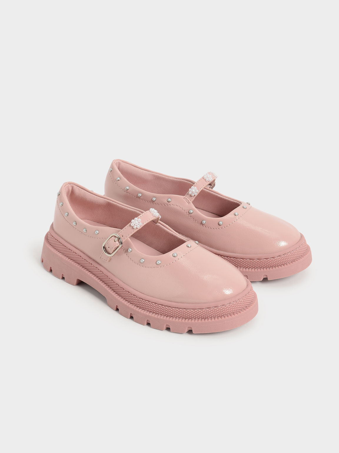 Girls' Patent Beaded Chunky Mary Janes, Pink, hi-res