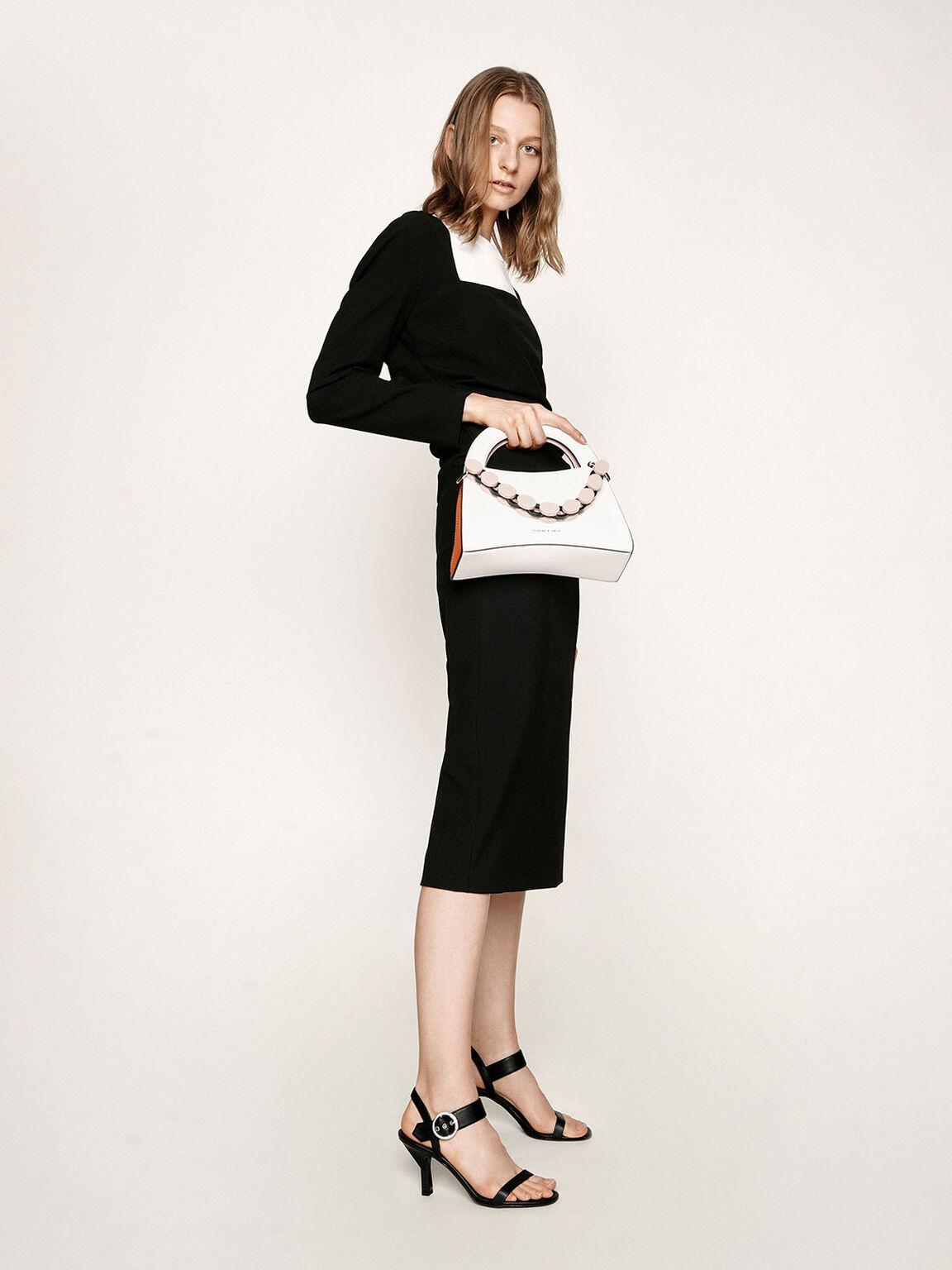 Oversized Buckle Heeled Sandals, Black, hi-res