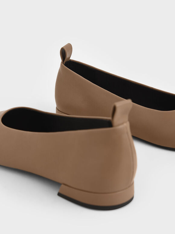 Square Toe Ballerina Flats, Brown, hi-res