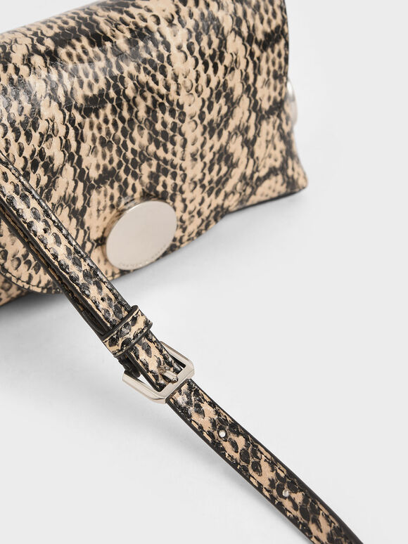 Snake Print Metal Accent Mini Crossbody Bag, Beige, hi-res