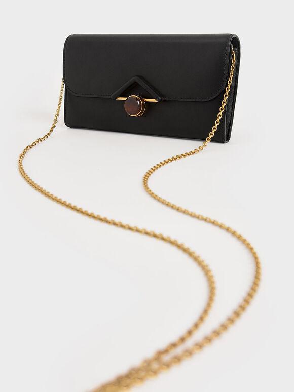 Stone Embellished Long Wallet, Black, hi-res