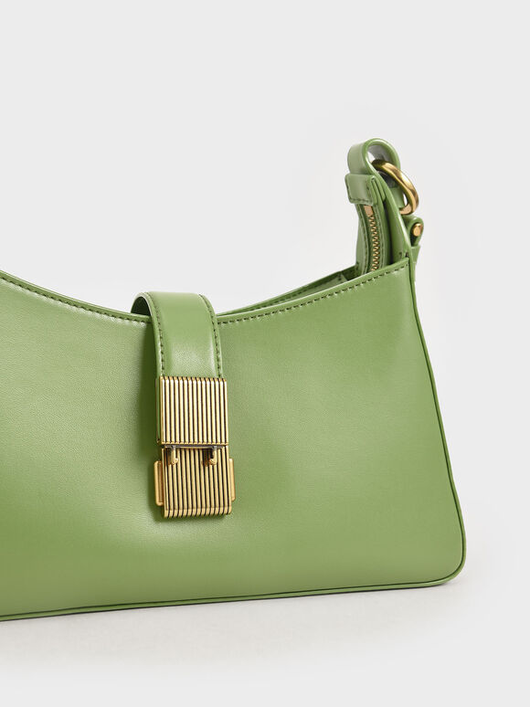 Chain Handle Shoulder Bag, Green, hi-res