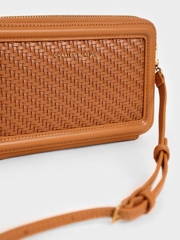 Woven Zip Around Wallet, Cognac, hi-res