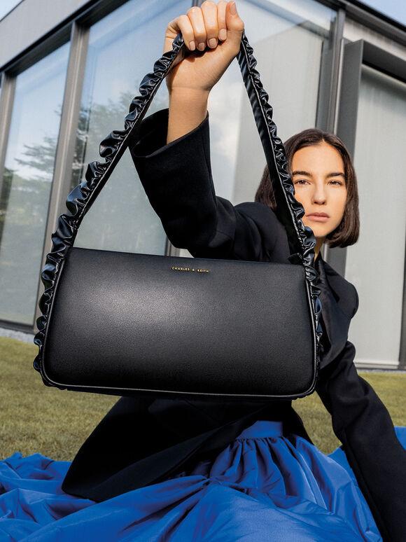 Riley Ruffle-Trim Bag, Black, hi-res