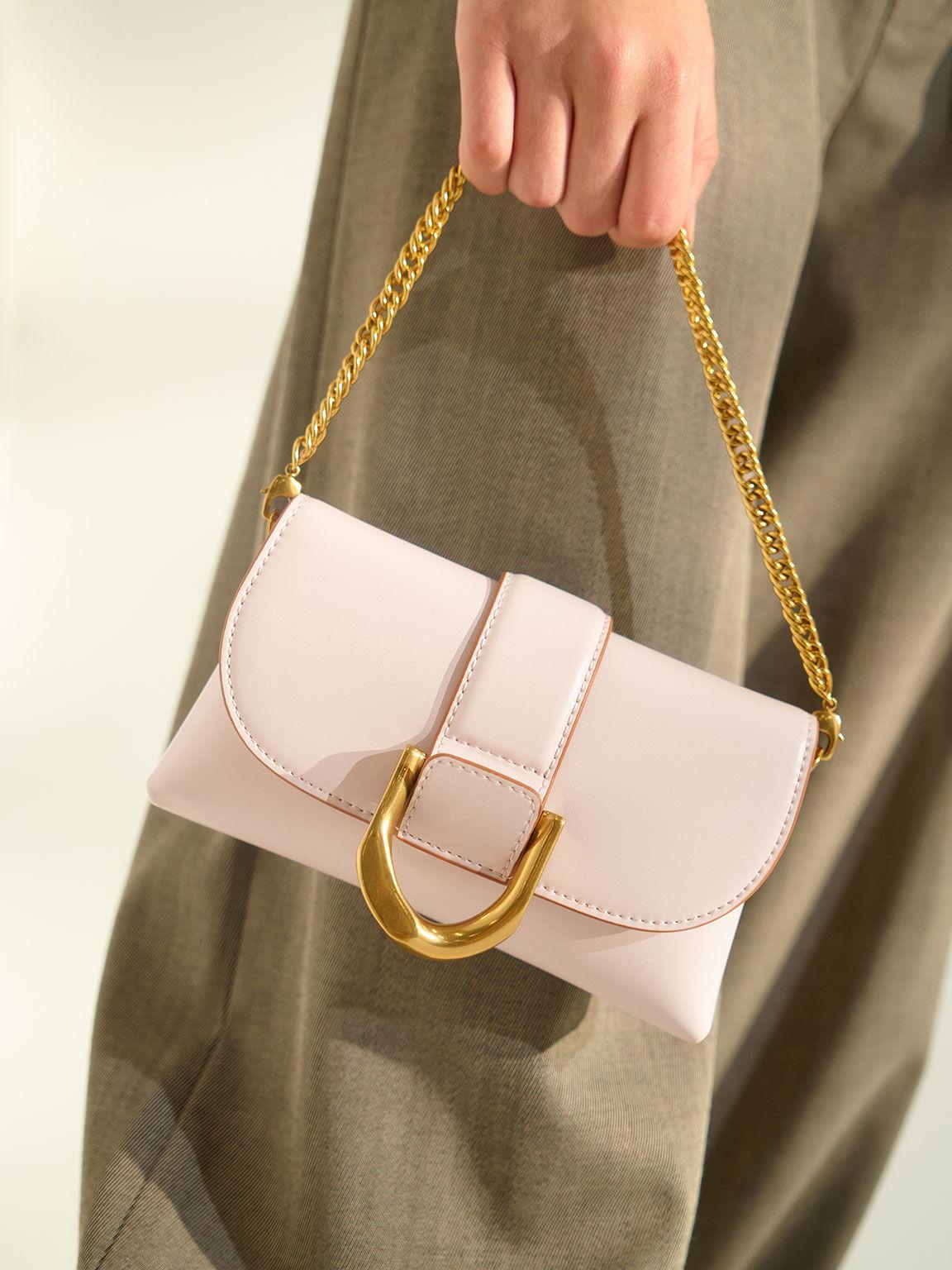 Metallic Buckle Crossbody Bag, Pink, hi-res