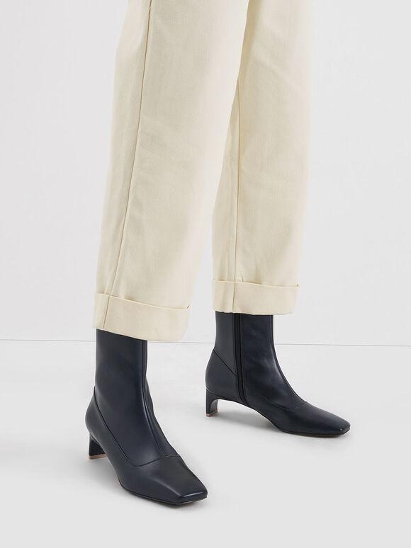 Blade Heel Calf Boots, Dark Blue, hi-res