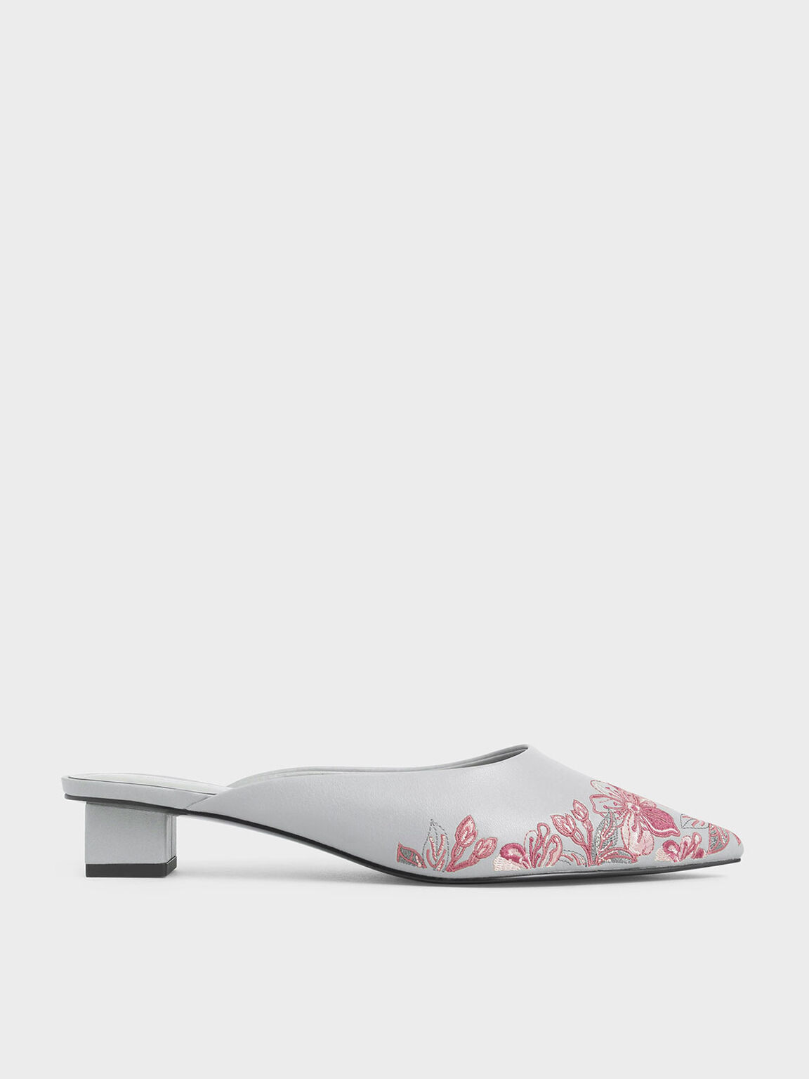 Embroidered Floral Mules, Grey, hi-res